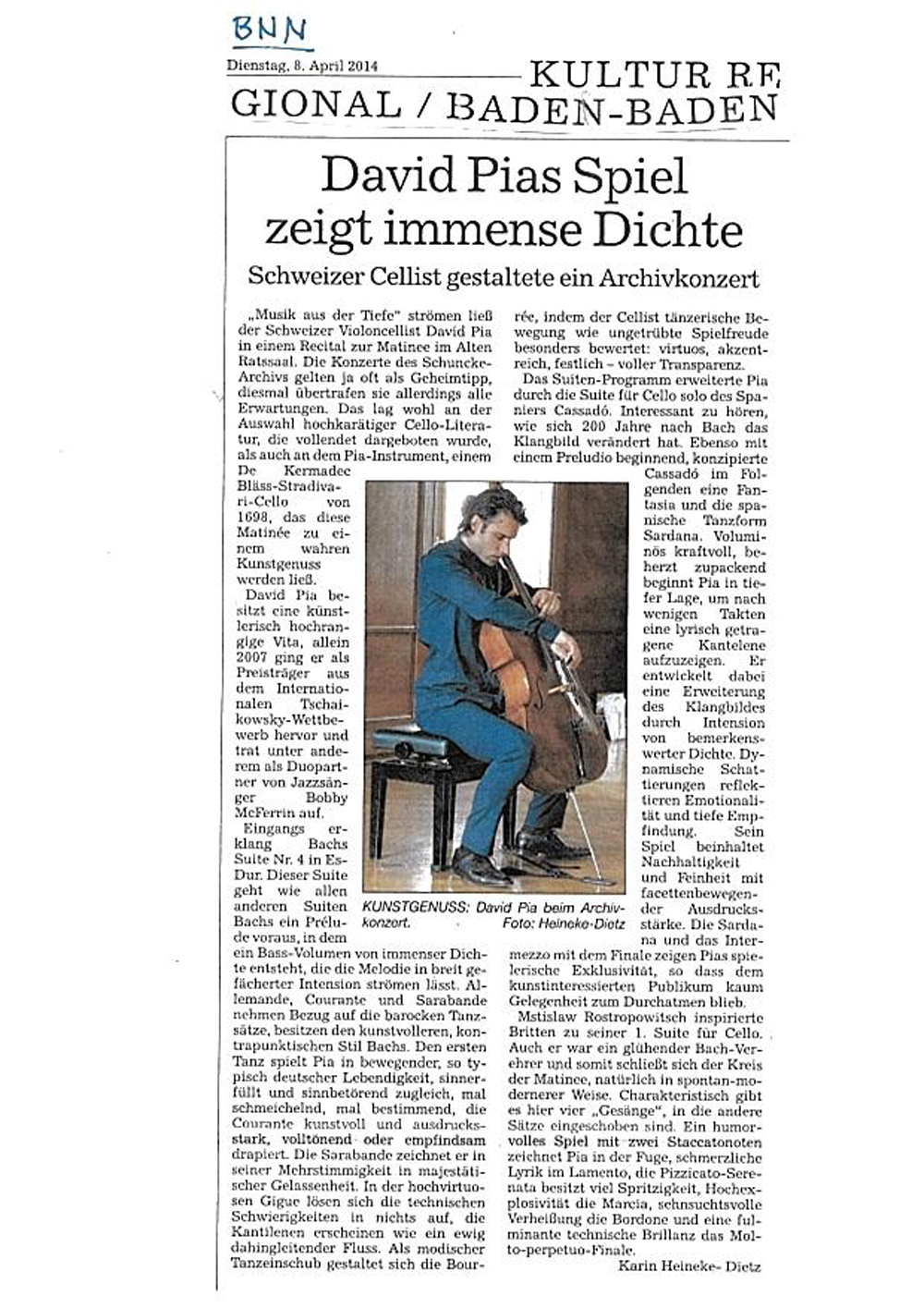 Recital (Solo) mit David Pia