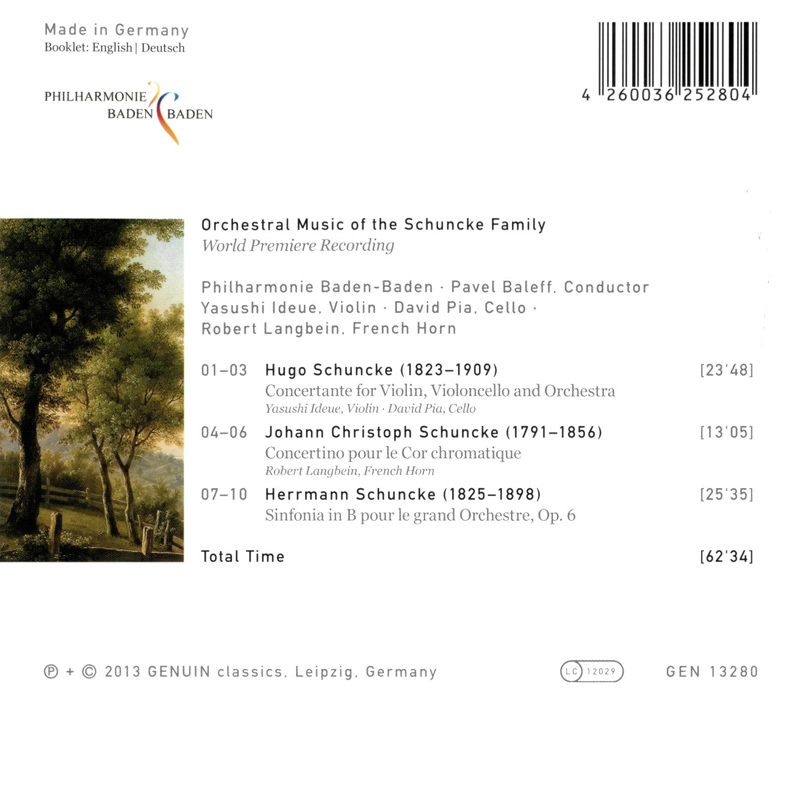 Orchestral Music of the Schuncke Family - Backcover